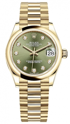 Rolex Datejust 31mm Yellow Gold 278248 Olive Green Diamond President