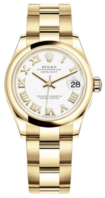 Rolex Datejust 31mm Yellow Gold 278248 White Roman Oyster