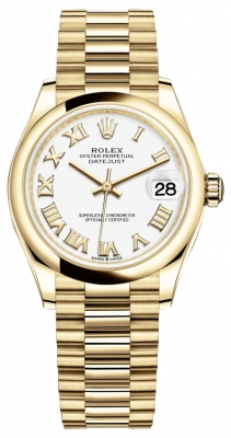 Rolex Datejust 31mm Yellow Gold 278248 White Roman President