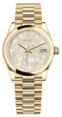 Rolex Datejust 31mm Yellow Gold 278248 Diamond Pave President