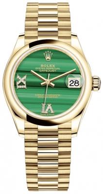 Rolex Datejust 31mm Yellow Gold 278248 Malachite Diamond President