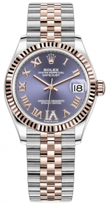 Rolex Datejust 31mm Stainless Steel and Rose Gold 278271 Aubergine Roman VI Jubilee