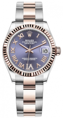 Rolex Datejust 31mm Stainless Steel and Rose Gold 278271 Aubergine Roman VI Oyster