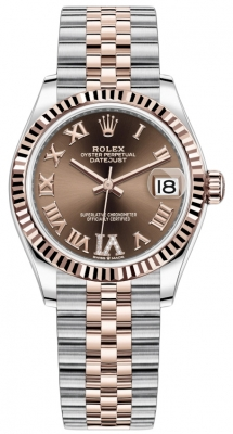 Rolex Datejust 31mm Stainless Steel and Rose Gold 278271 Chocolate Roman VI Jubilee
