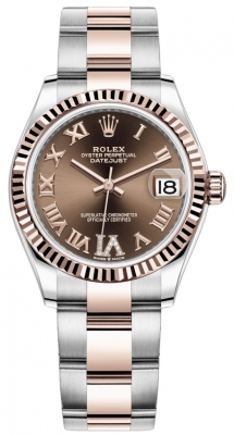 Rolex Datejust 31mm Stainless Steel and Rose Gold 278271 Chocolate Roman VI Oyster