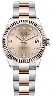 Rolex Datejust 31mm Stainless Steel and Rose Gold 278271 Gold Diamond Oyster