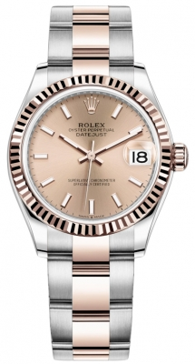Rolex Datejust 31mm Stainless Steel and Rose Gold 278271 Gold Index Oyster
