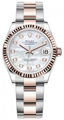 Rolex Datejust 31mm Stainless Steel and Rose Gold 278271 MOP Diamond Oyster