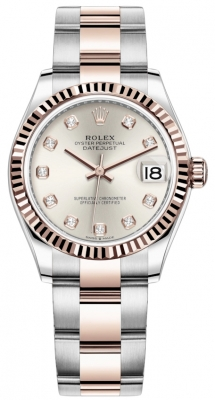 Rolex Datejust 31mm Stainless Steel and Rose Gold 278271 Silver Diamond Oyster