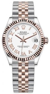 Rolex Datejust 31mm Stainless Steel and Rose Gold 278271 White Roman Jubilee