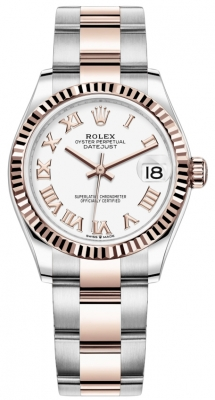 Rolex Datejust 31mm Stainless Steel and Rose Gold 278271 White Roman Oyster