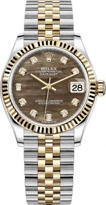 Rolex Datejust 31mm Stainless Steel and Yellow Gold 278273 Black MOP Diamond Jubilee