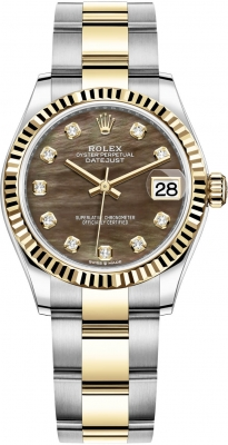 Rolex Datejust 31mm Stainless Steel and Yellow Gold 278273 Black MOP Diamond Oyster