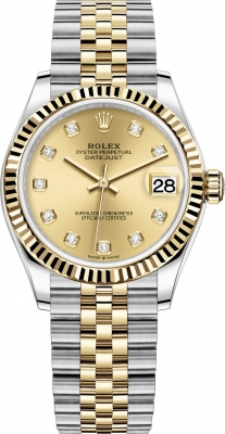 Rolex Datejust 31mm Stainless Steel and Yellow Gold 278273 Champagne Diamond Jubilee