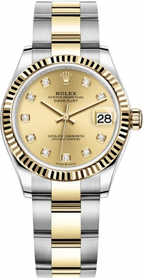Rolex Datejust 31mm Stainless Steel and Yellow Gold 278273 Champagne Diamond Oyster