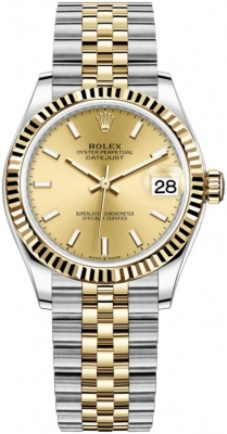 Rolex Datejust 31mm Stainless Steel and Yellow Gold 278273 Champagne Index Jubilee