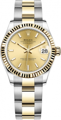 Rolex Datejust 31mm Stainless Steel and Yellow Gold 278273 Champagne Index Oyster