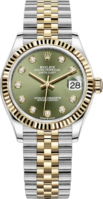 Rolex Datejust 31mm Stainless Steel and Yellow Gold 278273 Green Diamond Jubilee