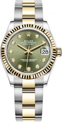 Rolex Datejust 31mm Stainless Steel and Yellow Gold 278273 Green Diamond Oyster