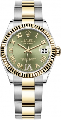 Rolex Datejust 31mm Stainless Steel and Yellow Gold 278273 Green VI Roman Oyster
