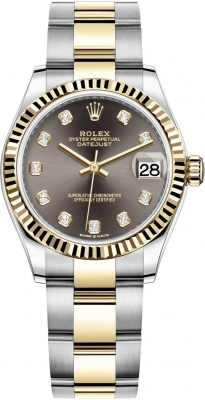 Rolex Datejust 31mm Stainless Steel and Yellow Gold 278273 Grey Diamond Oyster