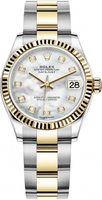 Rolex Datejust 31mm Stainless Steel and Yellow Gold 278273 MOP Diamond Oyster
