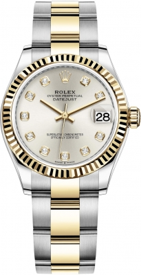 Rolex Datejust 31mm Stainless Steel and Yellow Gold 278273 Silver Diamond Oyster