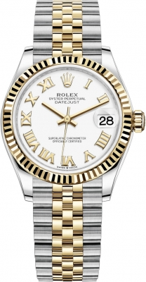 Rolex Datejust 31mm Stainless Steel and Yellow Gold 278273 White Roman Jubilee