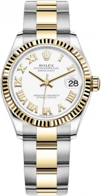 Rolex Datejust 31mm Stainless Steel and Yellow Gold 278273 White Roman Oyster