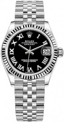 Rolex Datejust 31mm Stainless Steel 278274 Black Roman Jubilee