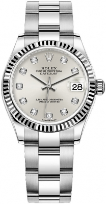 Rolex Datejust 31mm Stainless Steel 278274 Silver Diamond Oyster