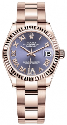 Rolex Datejust 31mm Everose Gold 278275 Aubergine VI Roman Oyster