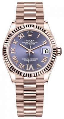 Rolex Datejust 31mm Everose Gold 278275 Aubergine VI Roman President