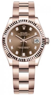 Rolex Datejust 31mm Everose Gold 278275 Chocolate Diamond Oyster
