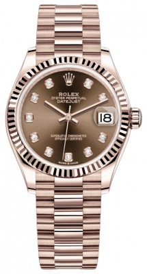Rolex Datejust 31mm Everose Gold 278275 Chocolate Diamond President