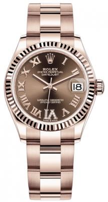 Rolex Datejust 31mm Everose Gold 278275 Chocolate VI Roman Oyster
