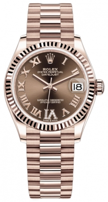 Rolex Datejust 31mm Everose Gold 278275 Chocolate VI Roman President