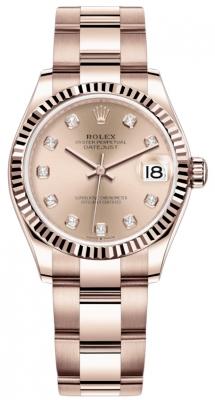 Rolex Datejust 31mm Everose Gold 278275 Gold Diamond Oyster