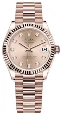 Rolex Datejust 31mm Everose Gold 278275 Gold Diamond President
