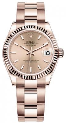 Rolex Datejust 31mm Everose Gold 278275 Gold Index Oyster