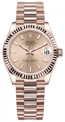 Rolex Datejust 31mm Everose Gold 278275 Gold Index President