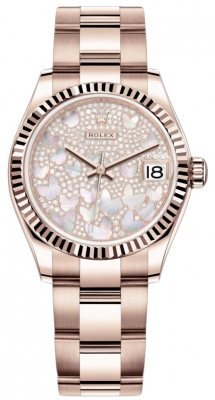 Rolex Datejust 31mm Everose Gold 278275 Diamond Paved Oyster