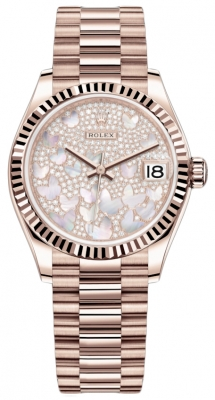 Rolex Datejust 31mm Everose Gold 278275 Diamond Paved President
