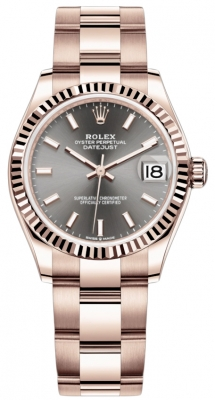 Rolex Datejust 31mm Everose Gold 278275 Rhodium Index Oyster
