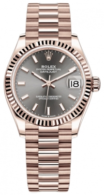 Rolex Datejust 31mm Everose Gold 278275 Rhodium Index President