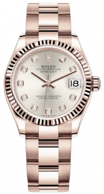 Rolex Datejust 31mm Everose Gold 278275 Silver Diamond Oyster