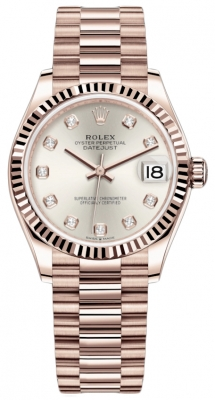 Rolex Datejust 31mm Everose Gold 278275 Silver Diamond President