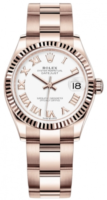 Rolex Datejust 31mm Everose Gold 278275 White Roman Oyster