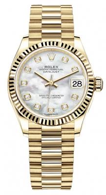 Rolex Datejust 31mm Yellow Gold 278278 MOP Diamond President