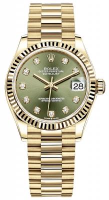 Rolex Datejust 31mm Yellow Gold 278278 Olive Green Diamond President